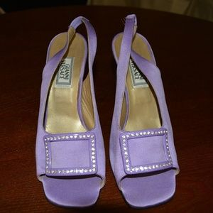 Iconic 1996 Gianni Versace Violet Satin Heels with